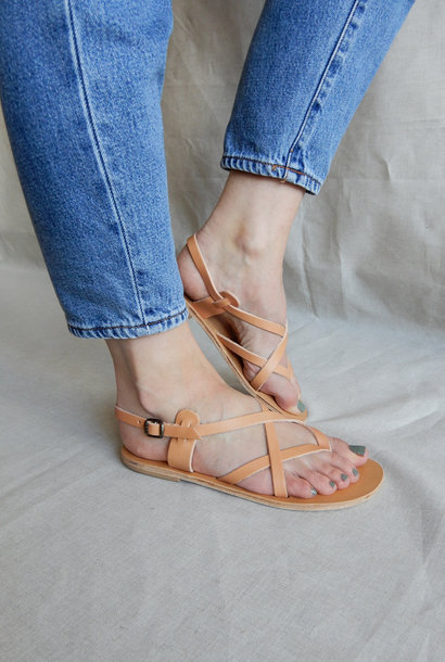 Sandal Toe Cross Strap Small Natural Vegetable Tanned Leather