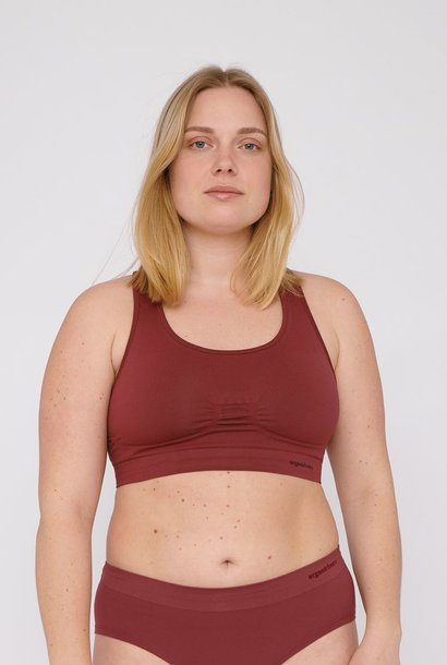 Organic Basics SilverTech Workout Bra Burgundy
