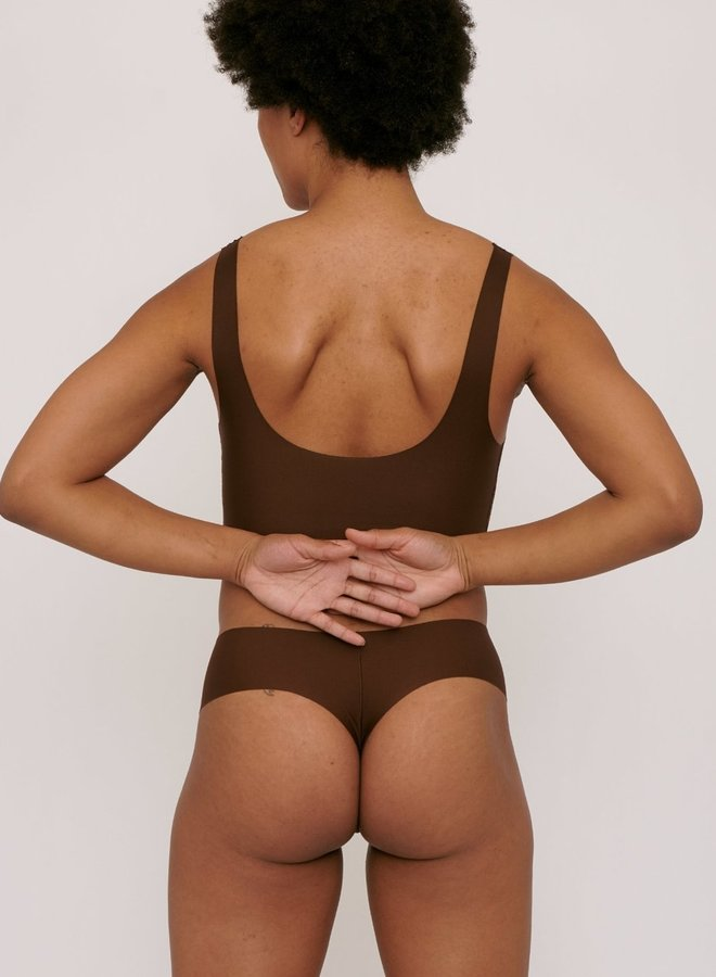 Invisible Cheeky Thong 2-pack Walnut