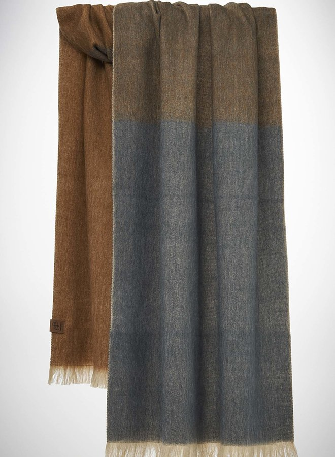 Bufandy sjaal | Brushed ombre warm taupe alpaca wol