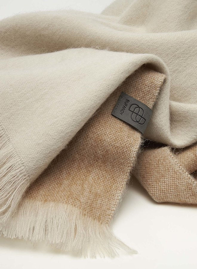 Bufandy sjaal   Brushed ombre coral peach alpaca wol