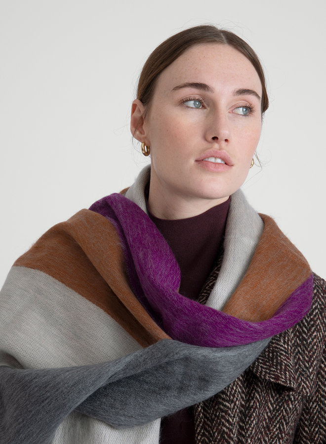 Scarf Striped Violet - Rusty - Naturals Alpacawool