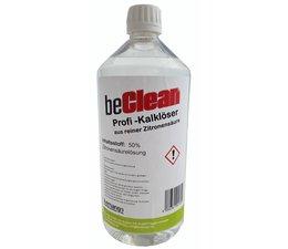 beClean Zitronensäure 50% flüssig 1 Liter Flasche mit Squeeze-Verschluss