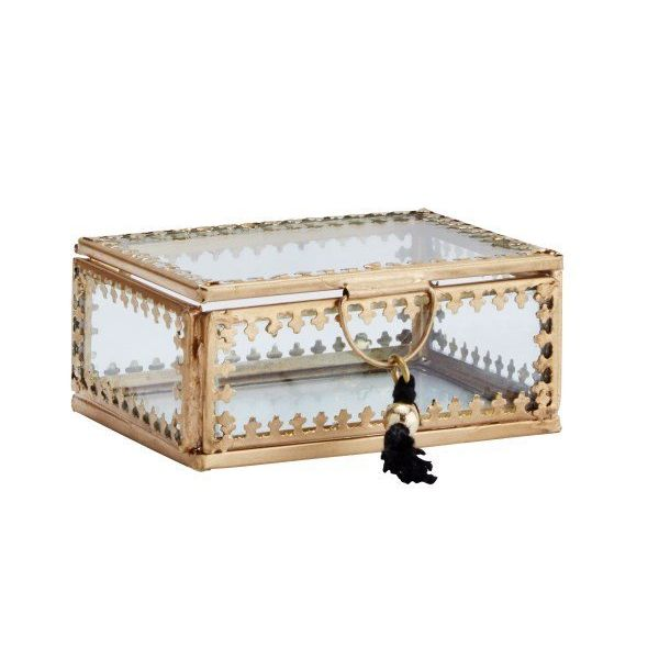 Madam Stoltz glazen boxje small  met kwastje