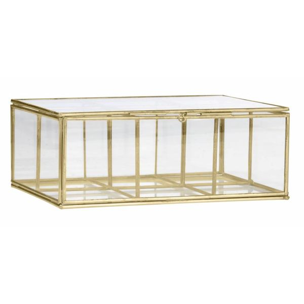 Madam Stoltz glazen opberg box 6 vakken goud