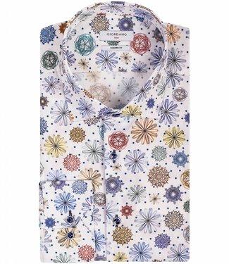 Giordano Blue wit overhemd gekleurde bloemen en stippen