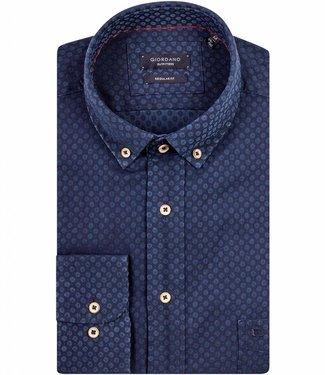 Giordano Regular Fit donkerblauw overhemd donkerblauw-blauwe print