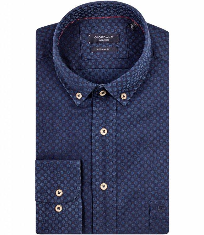 Donkerblauw Overhemd.Giordano Regular Fit Donkerblauw Overhemd Donker Blauwe Print Jeans