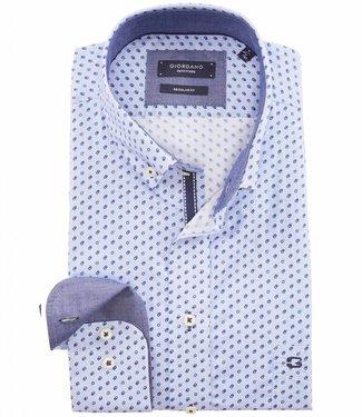 Giordano Regular Fit lichtblauw overhemd donkerblauw-kobaltblauwe print