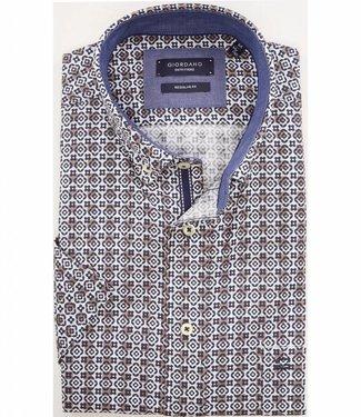 Giordano Regular Fit wit overhemd korte mouw blauw-bruine print