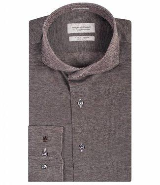 Thomas Maine tailored fit overhemd jersey bruin
