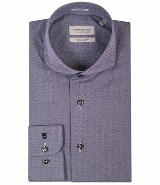 Thomas Maine tailored fit donkerblauw structuur overhemd