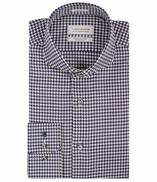 Thomas Maine tailored fit donkerblauw wit overhemd