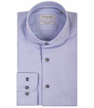 Thomas Maine tailored fit lichtblauw overhemd wit print