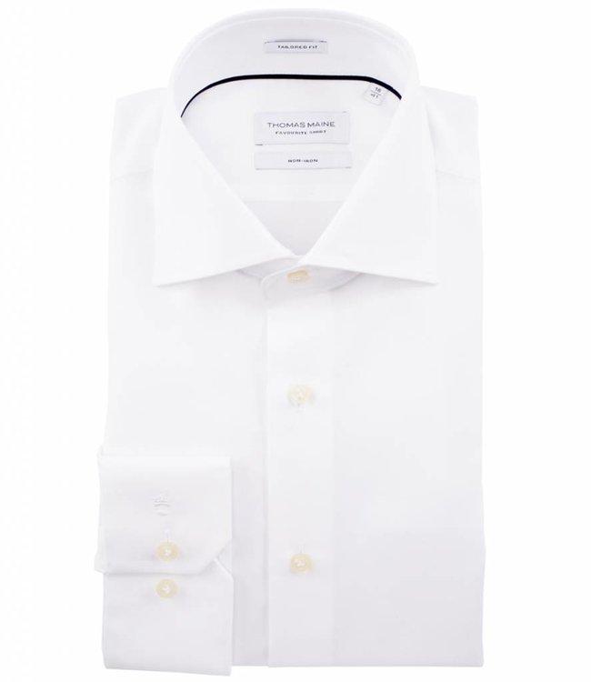 Overhemd Wit.Thomas Maine Tailored Fit Strijkvrij Overhemd Wit Mouwlengte 7