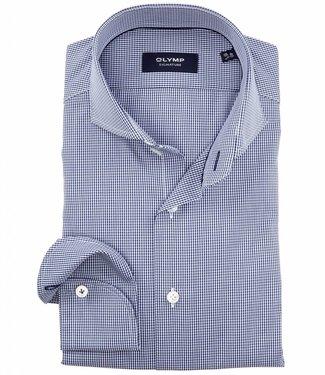 Olymp blauw-wit overhemd poplin ruitje