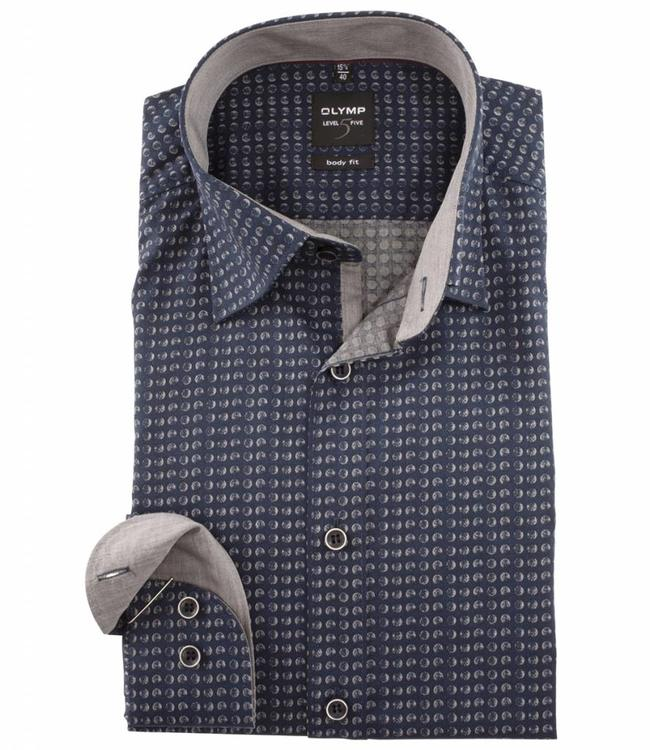 Overhemd Donkerblauw.Olymp Body Fit Overhemd Met Donkerblauw Grijze Print Shirtsupplier Nl