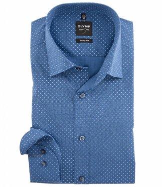 Olymp kobaltblauw overhemd fijne witte stippen