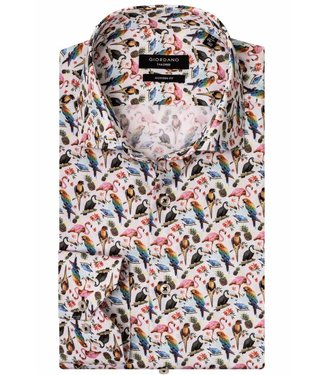 Giordano Tailored Modern Fit overhemd tutti colori multicolour vogelprint met papegaaien, kaketoe, flamingo