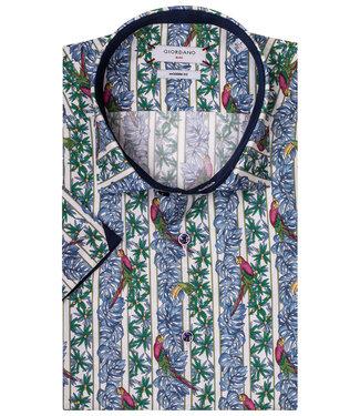 Giordano Blue Modern Fit heren overhemd korte mouw jungle met papegaaien print