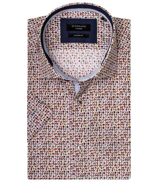 Giordano Tailored Modern Fit overhemd korte mouw wit met tutti colori print
