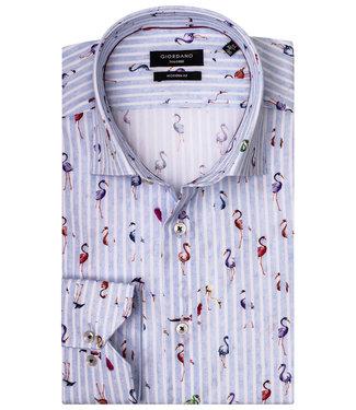 Giordano Tailored Modern Fit overhemd lichtblauw-wit tutti colori flamingo print