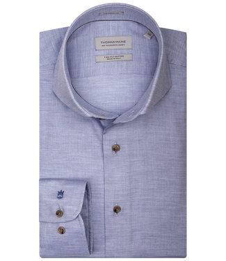 Thomas Maine overhemd lange mouw lichtblauw uni 1 knoops cut away met beige knopen
