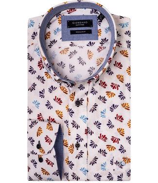 Giordano Regular Fit Giordano Regular Fit heren overhemd wit met rood-oranje-blauw-donkerblauw blaadjes print