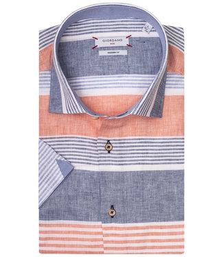 Giordano Blue Modern Fit overhemd korte mouw blauw-wit-oranje speciale strepen