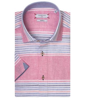 Giordano Blue Modern Fit overhemd korte mouw blauw-wit-roze speciale strepen