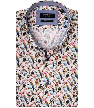 Giordano Regular Fit Regular Fit overhemd korte mouw wit met tutti colori papegaaien print
