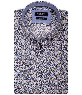 Giordano Regular Fit Regular Fit overhemd korte mouw wit met beige-bruin-lichtblauw-blauw-donkerblauw takjes en blaadjes print