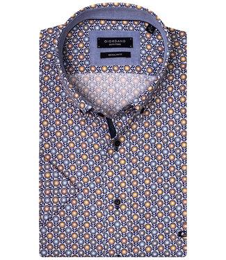 Giordano Regular Fit Regular Fit overhemd korte mouw wit met oranje-geel-lichtblauw-grijs bloemen print