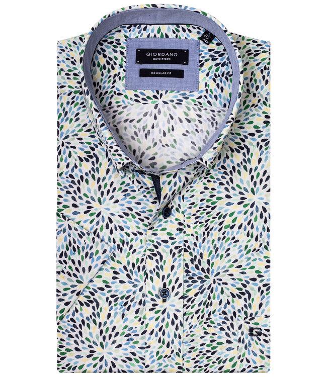 Mintgroen Heren Overhemd.Regular Fit Heren Overhemd Korte Mouw Speciale Print Geel Mintgroen