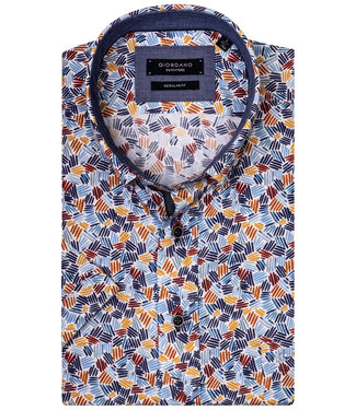 Giordano Regular Fit Regular Fit heren overhemd korte mouw met tutti colori special stripe print rood-oranje-geel tinten