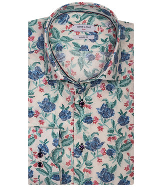 Giordano Blue wit met tutti colori grafische bloemenprint roze-groen-blauw-donkerblauw