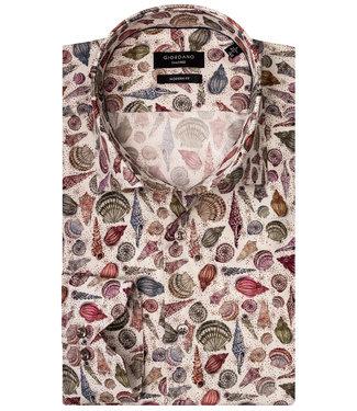 Giordano Tailored Modern Fit overhemd tutti colori multicolour schelpen strand print