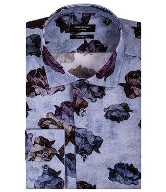 Giordano Tailored blauw met tutti colori grote rozen print