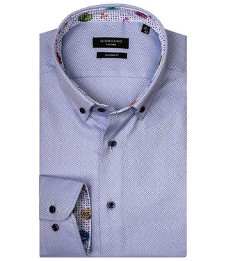 Giordano Tailored Modern Fit overhemd lichtblauw-wit werkje