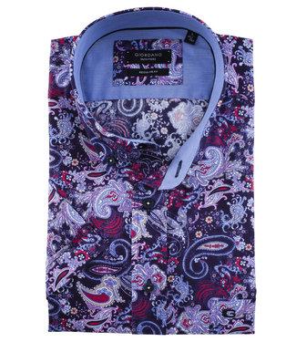 Giordano Regular Fit korte mouw overhemd paarse paisley print