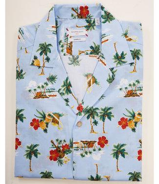 Giordano Blue korte mouw type hawai shirt lichtblauw met palmbomen print
