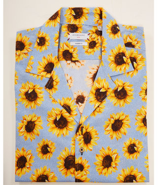 Giordano Blue korte mouw type hawai shirt lichtblauw met grote zonnebloemen print