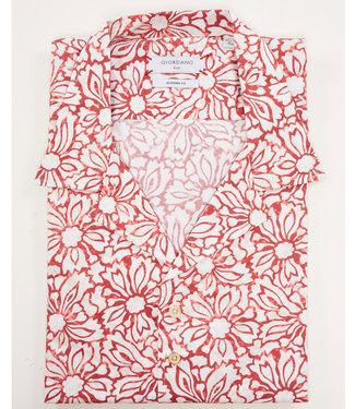 Giordano Blue korte mouw type hawai shirt wit met rood grafische bloemenprint