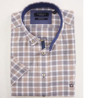 Giordano Regular Fit wit overhemd grote ruit wit met donkerblauw en bruin