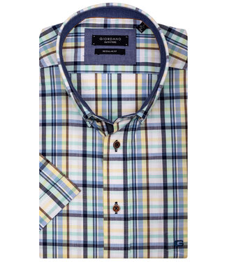 Giordano Regular Fit overhemd korte mouw wit met mintgroen-geel-lichtblauw-donkerblauw ruitje