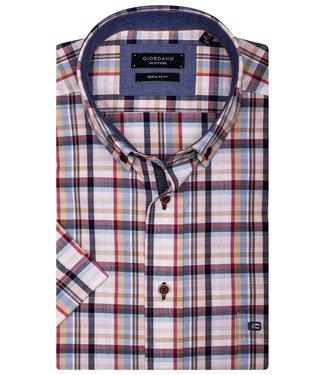Giordano Regular Fit overhemd korte mouw wit met donkerblauw-rood-beige-lichtblauw-roze ruitje