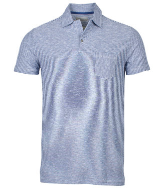 Thomas Maine polo tailored fit blauw-wit knitted streepje
