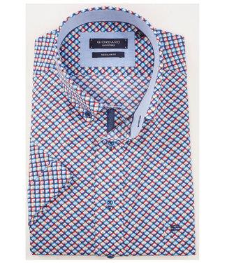 Giordano Regular Fit overhemd korte mouw ruit print beige-rood-lichtblauw-donkerblauw