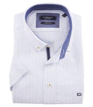 Giordano Regular Fit korte mouw blauw-wit oxford streepje