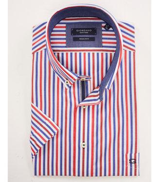 Giordano Regular Fit korte mouw streep rood-wit-blauw